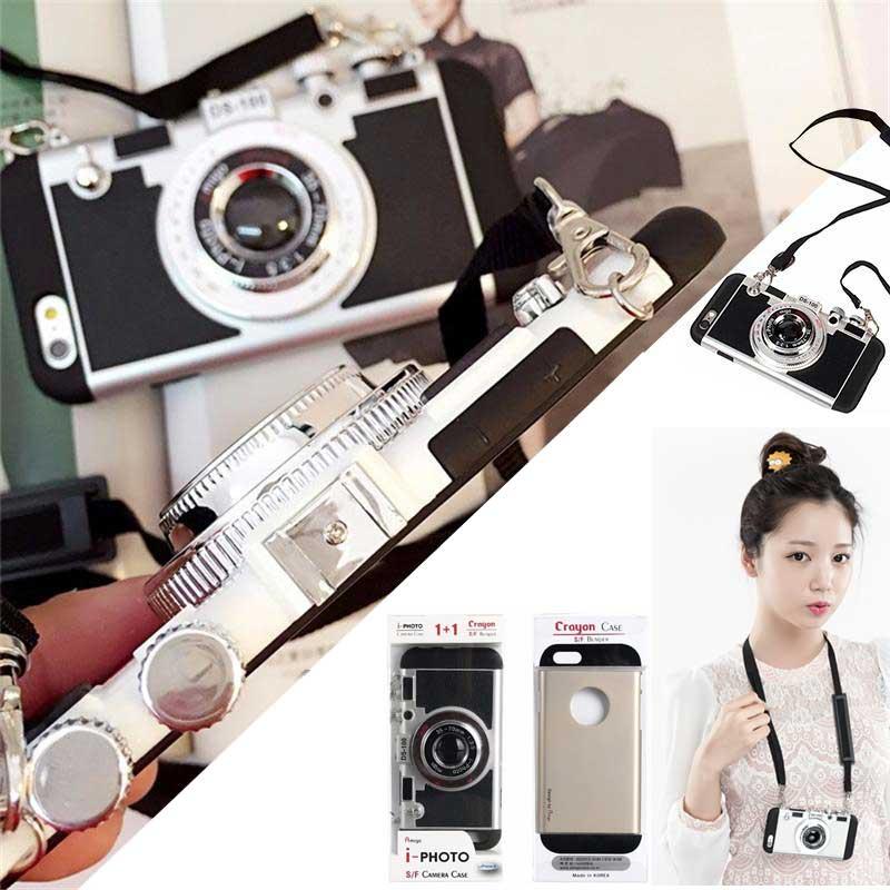 CUSTODIA LUXURY 2 in 1 i-Photo 3D CAMERA CASE COVER PER APPLE IPHONE 6 e 6S NERA
