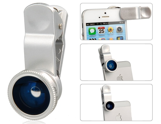 Universal-Wide-Angle-amp-Macro-amp-Fish-Eye-Lens-with-Clip-for-iPhone-5-4-amp-4S-Silver--ID9773