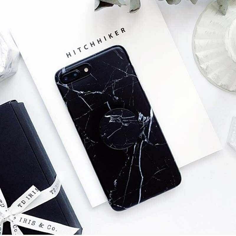 Ring Stand Cover ANELLO Custodia SUPPORTO GEL Silicone MARMO per iPhone 7 e 8